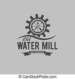 begrepp, gammal, restaurang, vatten, vektor, design, mall, ...