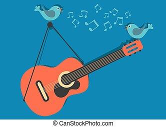 begrepp, gitarr, vektor, musik, sjungande, fåglar