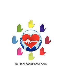 begrepp, global, illustration, en, donation, vektor, blod, mänsklig