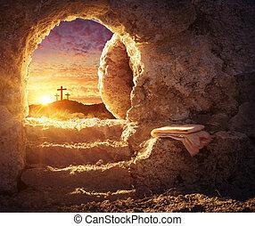 begrepp, grav, korsfästelse, -, uppståndelse, tom, soluppgång