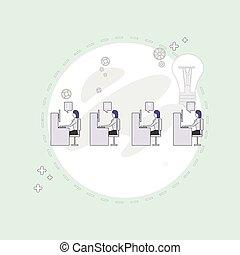 begrepp, grupp, affärskontor, folk, skrivbord, sittande, businesspeople, skapande, arbete, lag