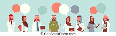 begrepp, grupp, färgrik, kommunikation, läkar lag, illustration, arab, konversation, vektor, anförande, behandling, pratstund, doktorn, stående, horisontal, sjukhus, bubbla, arbetare, arabiska