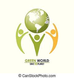 begrepp, grupp, folk, klot, planet, grön, holdingen, värld, räddning