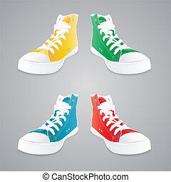 begrepp, gumshoes., vektor, illustration., färgrik