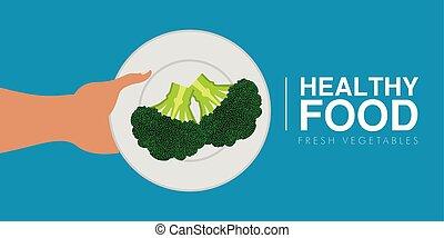 begrepp, hälsosam, brocoli., hand, mat, holdingen
