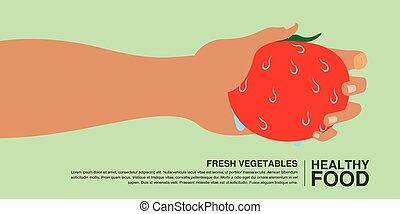 begrepp, hälsosam, hand, mat, holdingen, tomato.