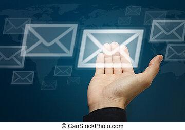 begrepp, hand, bära, brev, ikon, email