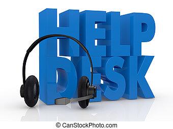 begrepp, hjälp, service, skrivbord