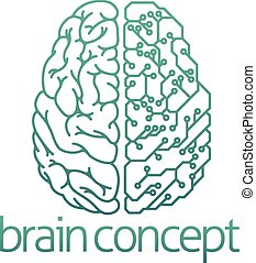 begrepp, hjärna, elektrisk, bord, strömkrets, halvt