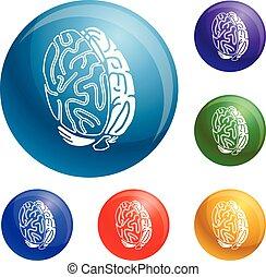 begrepp, hjärna, vektor, sätta, ikonen