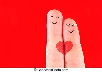 begrepp, hjärta, familj, målad,  -, fingrar, isolerat, kvinna, bakgrund, hålla, röd,  man