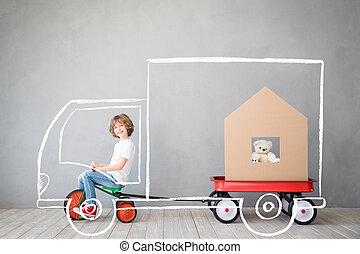 begrepp, hus, barn, gripande, nytt hem, dag