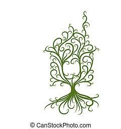 begrepp, hus, ekologi, grön, design, din