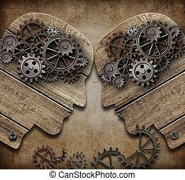 begrepp, huvuden, trä, två, kollisionen, utrustar, kommande