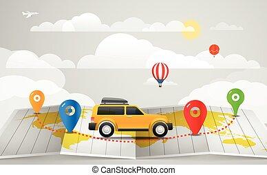begrepp, illustration., bil, resa, semester, vektor