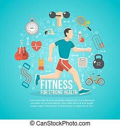 begrepp, illustration, fitness