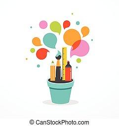 begrepp, illustration, kreativitet, -, idé, utbildning, affisch, växande, vetenskap