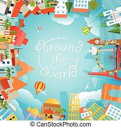 begrepp, illustration., resa, vektor, värld, omkring