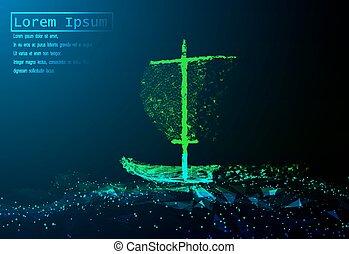 begrepp, illustration., segla, polygonal, vektor, galler, båt, hav, affär, waves.
