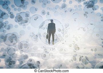 begrepp, insida, forska, bubblar, man
