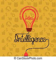 begrepp, intelligens, idé, skapande, ljus kula