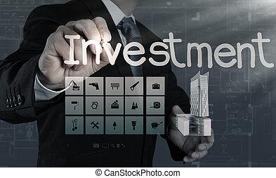 begrepp, investering, affärsman, pekande