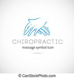 begrepp, kiropraktik, symbol, etikett, vektor, eller, ...