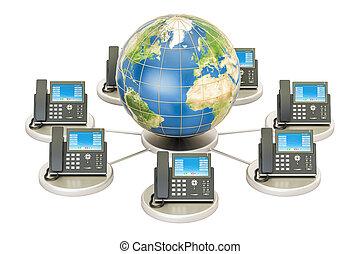begrepp, klot, kommunikation, concept., global, framförande, mull, voip, 3