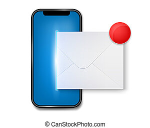 begrepp, konst, sammandrag formge, meddelande, template., underrättelse, sms, skapande, bakgrund., färsk, email, smartphone, avskärma, kuvert, illustration, ringa, grafisk, mobil, element, unread, eller