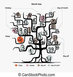 begrepp, konst, träd, dagar, månad, design