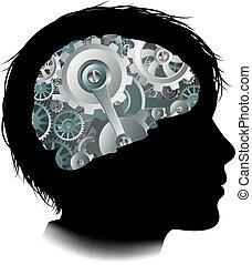 begrepp, kuggar, maskin, hjärna, utrustar, barn, arbetsgång