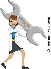 begrepp, läkare, kvinna, skiftnyckel, holdingen, skruvnyckel, maskot