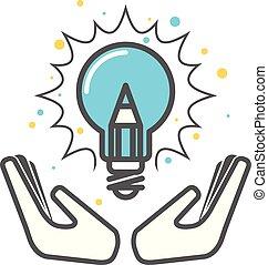 begrepp, lätt, -, idé, skapande, uppfinning, sätta pris på, ikon, lök