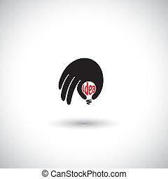 begrepp, lätt, -, idé, skapande, vektor, mänsklig, lök, hand, ikon