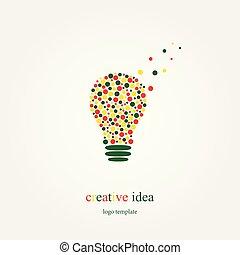 begrepp, lätt, skapande, idé, lök, logo, bubblar, template.
