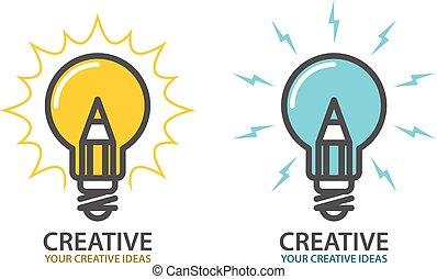 begrepp, lätt, symbol, -, idé, skapande, design, ikon, lök