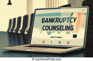 begrepp, laptop, screen., rådgivning, 3d., bankrutt
