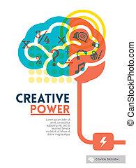 begrepp, layout, affisch, täcka, idé, skapande, hjärna, flygare, design, bakgrund, broschyr
