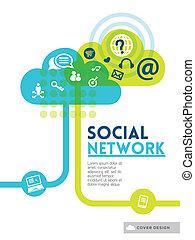 begrepp, layout, nätverk, media, social, täcka, flygare, design, bakgrund, affisch, broschyr, moln