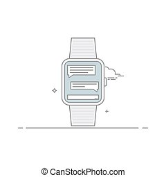 begrepp, linjär, ansökan, mobil, watch., messenger., correspondence., isolerat, bakgrund., vektor, direkt, vit, interface., style., smart