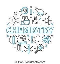 begrepp, linjär, illustration, vektor, utbildning, runda, kemi
