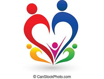 begrepp, logo, vektor, familj