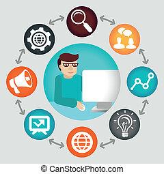 begrepp, media, -, projekt, chef, vektor, social
