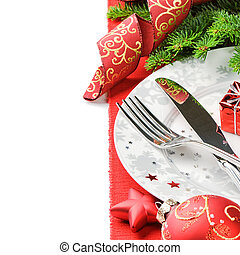 begrepp, meny, över, isolerat, vit jul
