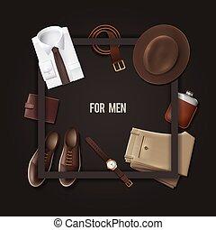 begrepp, mode, ha på sig, män