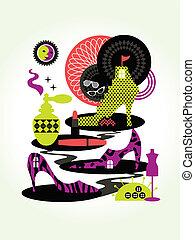 begrepp, mode, illustration, kvinnor