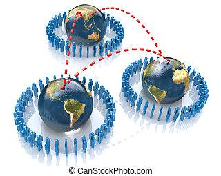 begrepp, nätverk, folk, abstrakt,  global,  Illustration, 3