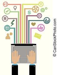 begrepp, nätverk, programmering, illustration, vektor, teknologi