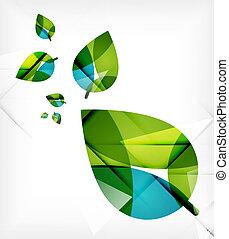 begrepp, natur, fjäder, bladen, grön, design