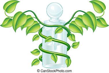begrepp, naturlig, caduceus, flaska